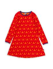 Dress LS. Stripes and Apples - Orange