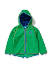 Fleece with hood and zipper - Green