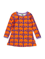 Baby Dress LS. Elephants - Purple