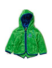 Baby Fleece w. hood and zipper - Green