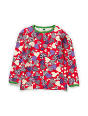 T-shirt LS. Patchwork Hearts - Red