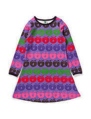 Dress LS. Multi apples - M. Purple