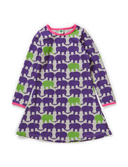 Dress LS. Twin elephants - Purple
