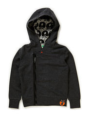 Sweatshirt w. hood and zipper - D. Grey Mix