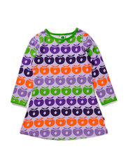 Dress LS, Multi apples - Lt. Purple