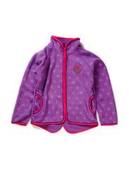 Fleece zipper, Embossed apples - M. Purple