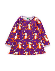 Baby Dress LS, Monkey - Purple