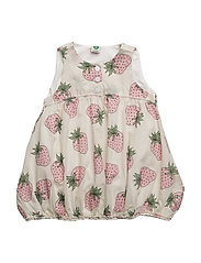 Dress with strawberry print - CREAM