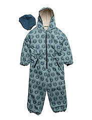 Snowsuit, 1 zipper - STONE BLUE