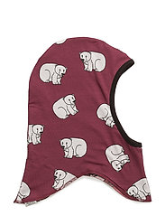 Reversible hood with polarbear and penguin - MAROON