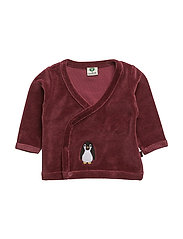 Velvet cardigan for baby - MAROON
