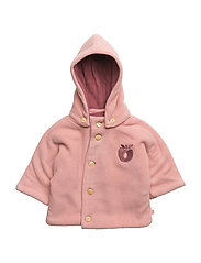 Baby Fleece. Hood+buttons - Bridal Rose