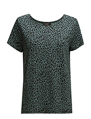 Maia Tee SS - Green Background/Black Print