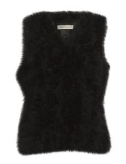 Fur Long waistcoat - black