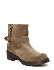 Boot w/gold zipper and bu - green