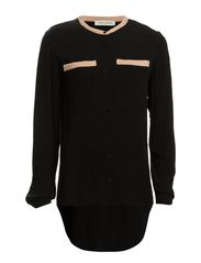 Shirt w. big pockets - black w. nude