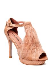 High heel feather sandal - nude
