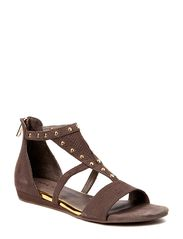 Leather sandal w studs - taupe suede