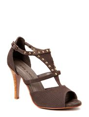 High heel sandal w studs - taupe suede