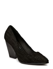 Pump w wide heel leather - black