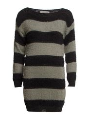Fluffy Knit Jumper - BLK/GRE