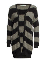 Fluffy Knit Cardigan - BLK/GRE