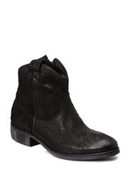 Flat boot leather - Black