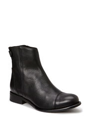 Low boot w. zip - BLK