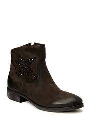 Flat boot w. star - D. grey