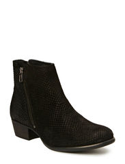Low boot w. side zipper - Black