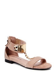 Sandal w. gold plate - taupe