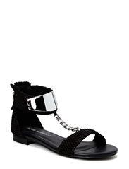 Sandal w. silver plate - black
