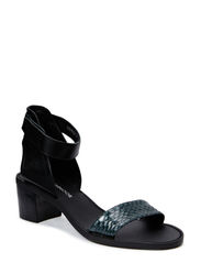 Sandal w. ancle strap - black grey