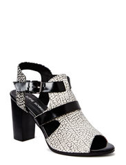 High heel sandal - black white mix