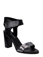 High heel sandal - silver/black