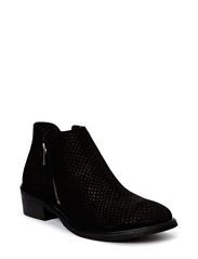 Flat boot w. zipper - black