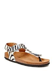 sandal toe strap fur - zebra