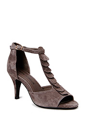 Pump with frill - taupe