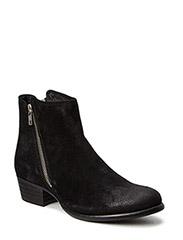 Low boot w.side zipper - black
