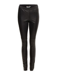 Leather leggings w. stretch - BLK