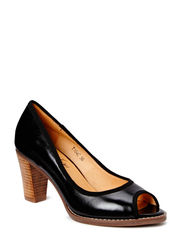 Horse oil open toe pump - black
