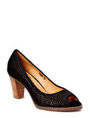Snake open toe pump - black
