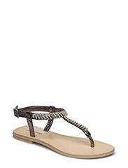sandal w. simili stones - ANTIC SILVER METALLIC