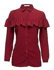 Shirt w frill - BURGUNDY