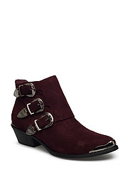 Boot w. buckles - DARK RED
