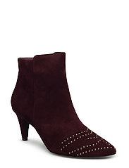 Pointy suede w. rivet - DARK RED