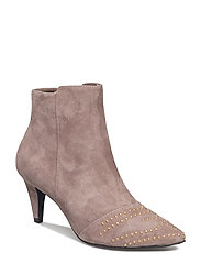 Pointy suede w. rivet - TAUPE