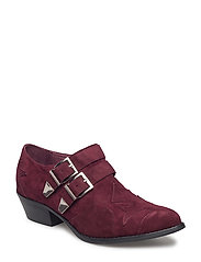 boot w. buckles and pattern - DARK RED