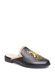 Shoe Flat Tiger Fur - BLACK
