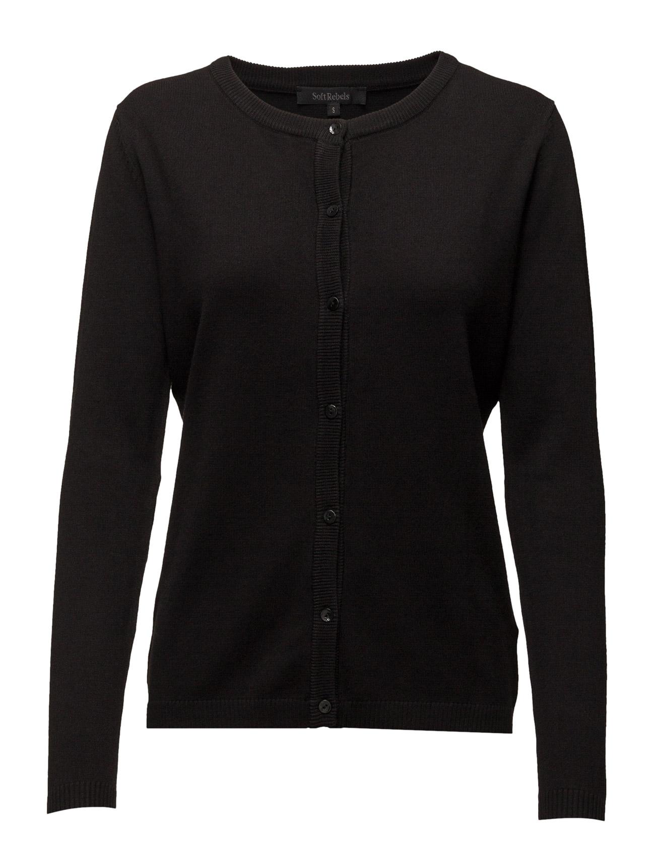 Zara Cardigan O-Neck Soft Rebels Cardigans til Damer i 001 Black